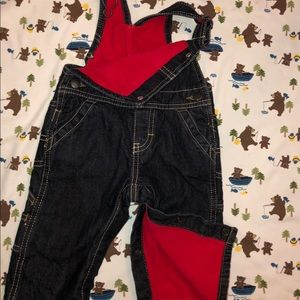 OSHKOSH 6 mo fleece lined blue Jean overalls.